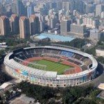 (080803) -- QINGDAO, Aug. 3, 2008 (Xinhua) -- The aerial photo taken on August 2, 2008 shows the Beijing Workers' Stadium in Beijing, China. The men's and women's football competition of the Beijing 2008 Olympic Games will be held there.  (Xinhua/Chen Kai) (zgp)