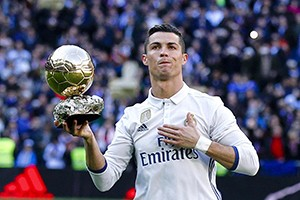 Ronaldo with his 5th Ballon d'or.
